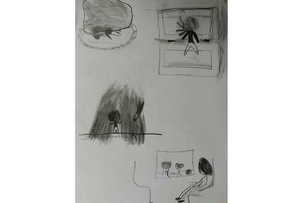 Eine Kinderzeichnung von Tanas Kindheit